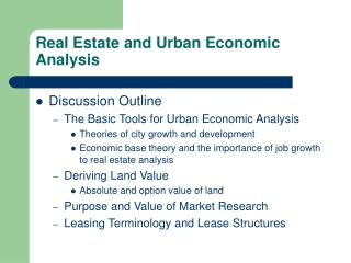 Real Estate and Urban Economic Analysis