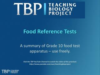 Food Reference Tests