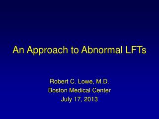An Approach to Abnormal LFTs