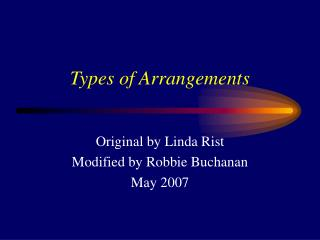Types of Arrangements
