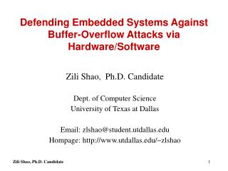 Defending Embedded Systems Against Buffer-Overflow Attacks via Hardware/Software