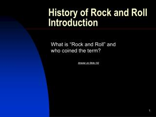 History of Rock and Roll Introduction