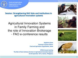 Session: Strengthening RAS links and institutions in agricultural innovation systems