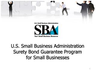 U.S. Small Business Administration Surety  Bond Guarantee  Program for Small Businesses