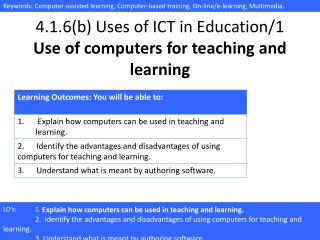 4.1.6(b) Uses of ICT in Education/1 Use of computers for teaching and learning