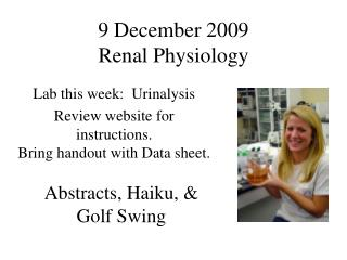 9 December 2009 Renal Physiology