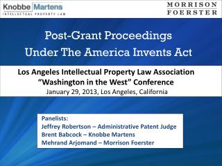 Post-Grant Proceedings Under The America Invents Act