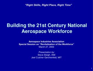 Building the 21st Century National Aerospace Workforce
