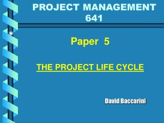 PROJECT MANAGEMENT 641