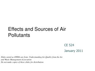 Effects and Sources of Air Pollutants