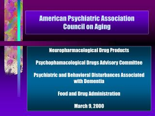 American Psychiatric Association Council on Aging
