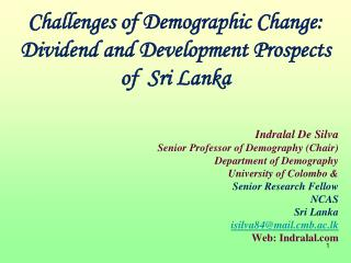 Challenges of Demographic Change: Dividend and Development Prospects of  Sri Lanka