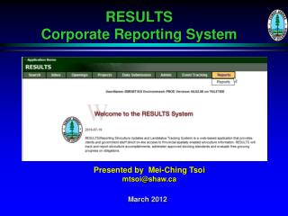 RESULTS  Corporate Reporting System