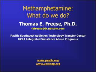 Methamphetamine:  What do we do?