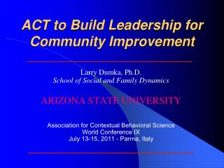 ACT to Build Leadership for Community Improvement