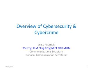 Overview of  Cybersecurity &  Cybercrime