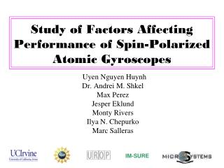 Study of Factors Affecting Performance of Spin-Polarized Atomic Gyroscopes