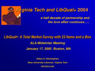 Virginia Tech and LibQual+  2004