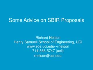Some Advice on SBIR Proposals