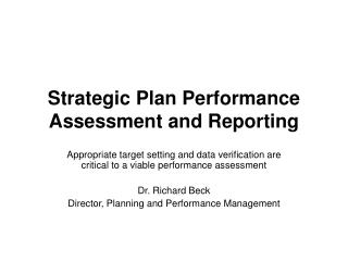 Strategic Plan Performance Assessment and Reporting