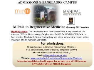 ADMISSIONS @ BANGLAORE CAMPUS