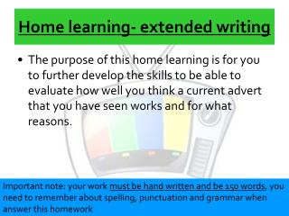 Home learning- extended writing