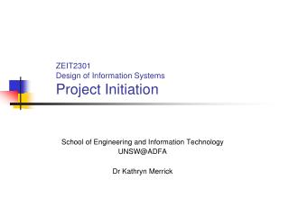 ZEIT2301 Design of Information Systems Project Initiation