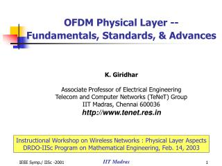 Instructional Workshop on Wireless Networks : Physical Layer Aspects