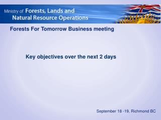 Forests For Tomorrow Business meeting