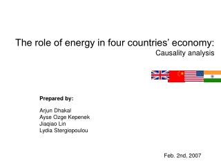 The role of energy in four countries' economy: Causality analysis