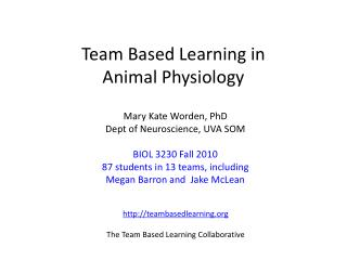Team Based Learning in  Animal Physiology