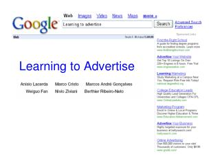 Learning to Advertise