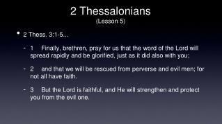 2 Thessalonians (Lesson 5)