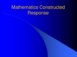 Mathematics Constructed Response