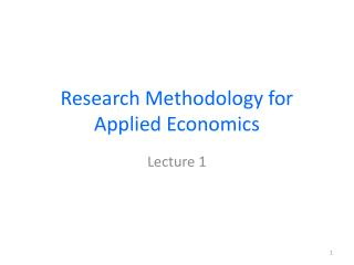 Research Methodology for Applied Economics
