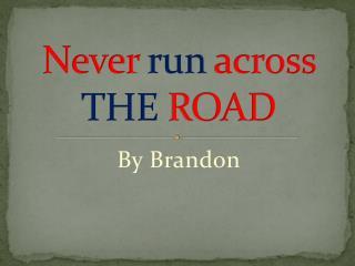 Never run across THE ROAD