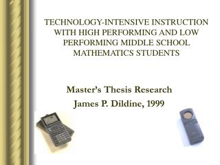 Master's Thesis Research James P. Dildine, 1999