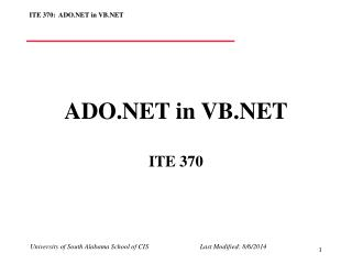 ADO.NET in VB.NET