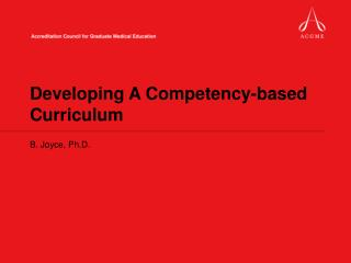Developing A Competency-based Curriculum