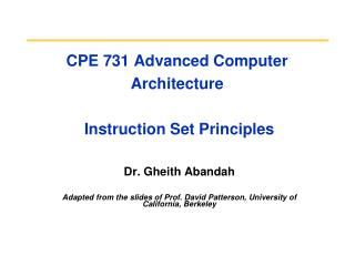 CPE 731 Advanced Computer Architecture  Instruction Set Principles