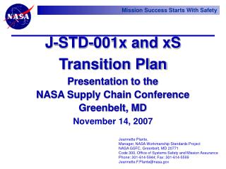 Presentation to the  NASA Supply Chain Conference Greenbelt, MD