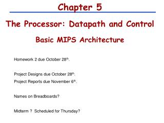 Chapter 5 The Processor: Datapath and Control Basic MIPS Architecture