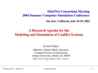 A Research Agenda for the Modeling and Simulation of Conflict Systems