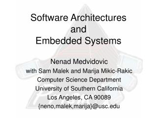 Software Architectures and Embedded Systems