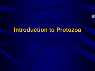 Introduction to Protozoa