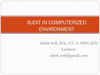AUDIT IN COMPUTERIZED ENVIRONMENT