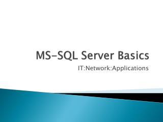 MS-SQL Server Basics