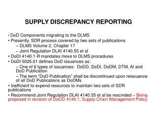 SUPPLY DISCREPANCY REPORTING