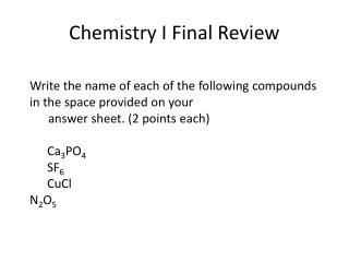 Chemistry I Final Review