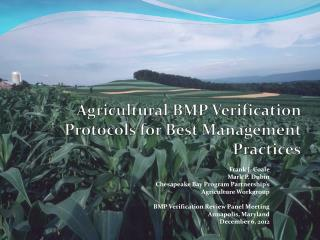 Agricultural BMP Verification Protocols for Best Management Practices